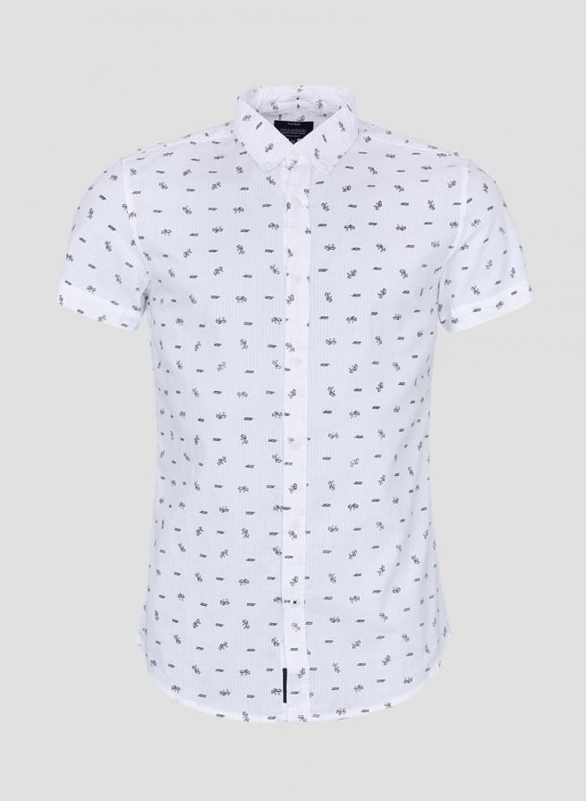 4397fa9e78 Camisa manga corta estampada blanca de hombre - Momos Mislata